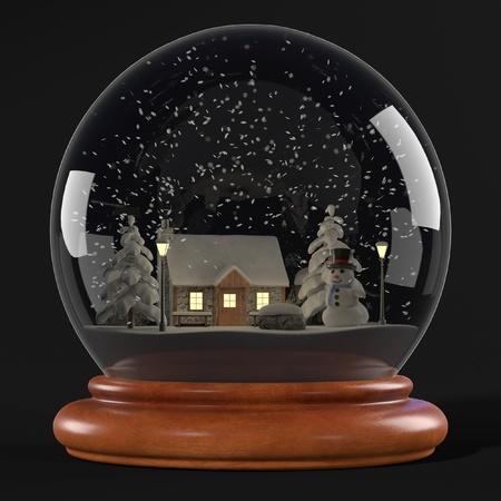 realistic 3d render of snowglobe