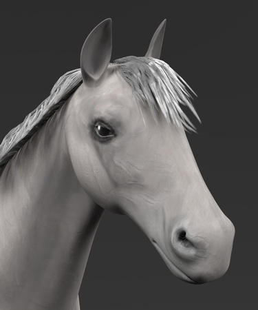 realistic 3d render of white horse Stock Photo