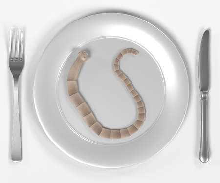 bulimia: 3d render of tapeworm on plate Stock Photo