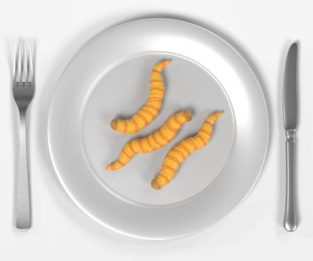 3D render van wormen op plaat