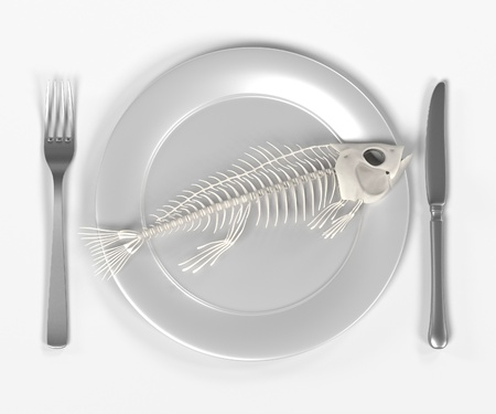fish plate: 3d render of fish on plate Stock Photo