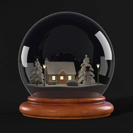 snowglobe: realistic 3d render of snowglobe