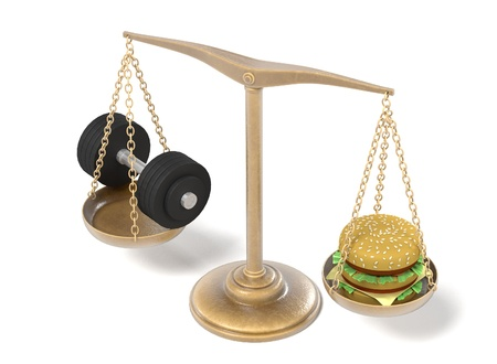 3d render of hamburger and weights on scales Stock Photo