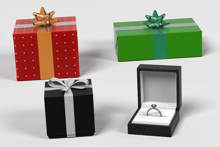wed: 3d render of gifts set Stock Photo