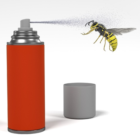 musca domestica: 3d render of spray killing insect