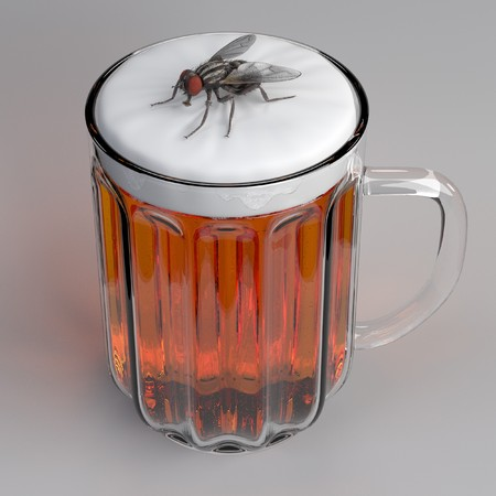 musca domestica: 3d render of fly in beer Stock Photo