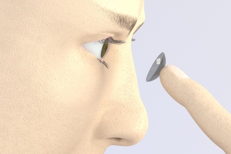 eye 3d: 3d render of character putting contact lens in the eye