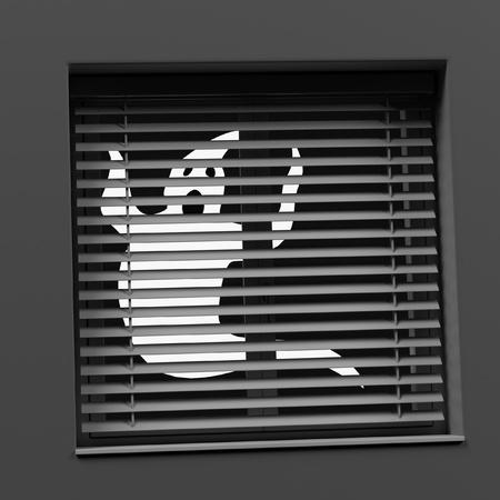 3d render of ghost behind window