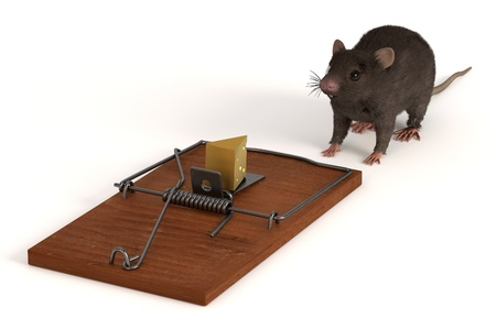3d render of mouse with mousetrap Stock Photo