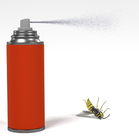 musca: 3d render of spray killing insect