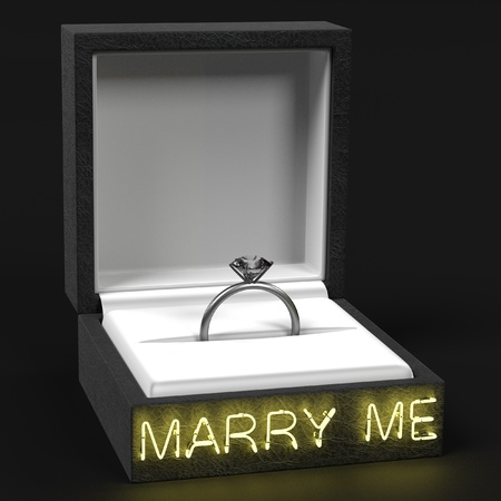 fiancee: 3d render of ring with marry me sign