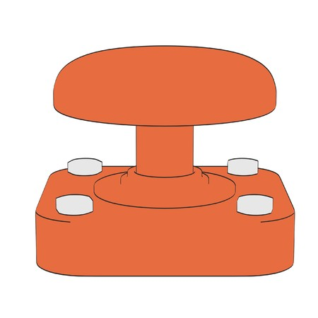2d cartoon illustration of red button