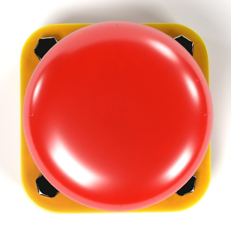 nuclear bomb: realistic 3d render of red button Stock Photo