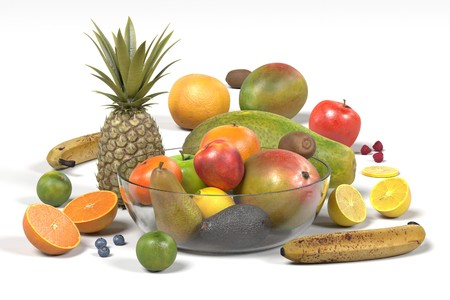 realistic 3d render of fruit collection Imagens