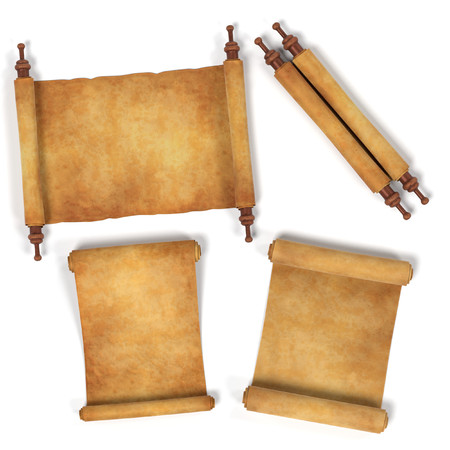 holy book: realistic 3d render of scrolls Stock Photo
