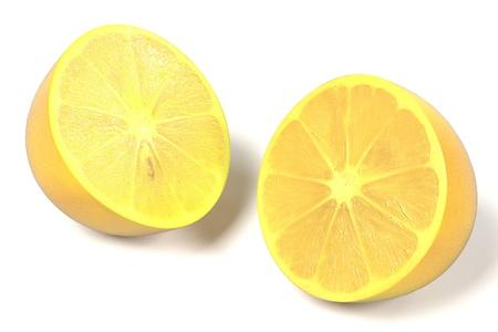 gastro: realistic 3d render of lemon on white backround