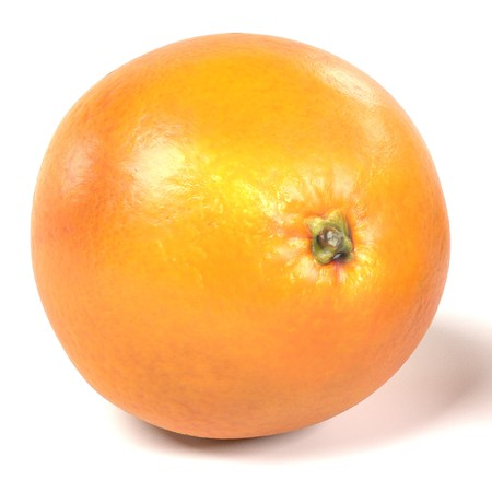 realistic 3d render of orange on white backround