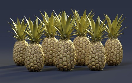 realistic 3d render of pineapples