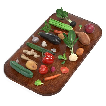 courgette: realistic 3d render of vegetable set