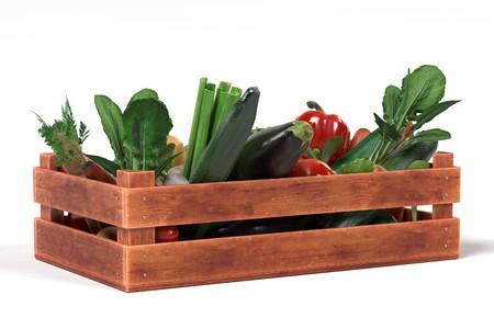 salat: realistic 3d render of vegetable in box