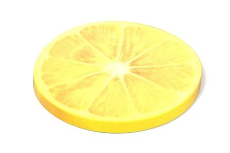 gastro: realistic 3d render of lemon slice on white backround