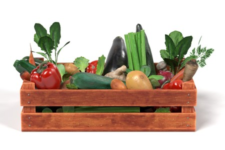 Rendu 3d réaliste de légumes dans une boîte Banque d'images - 77701925