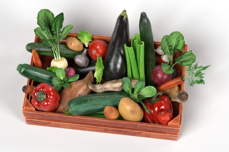 wood crate: realistic 3d render of vegetable in box