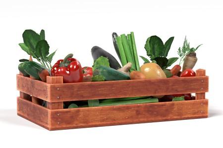 Rendu 3d réaliste de légumes dans une boîte Banque d'images - 77706602