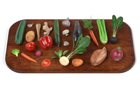 Rendement 3D réaliste d'un ensemble de légumes Banque d'images - 77706608