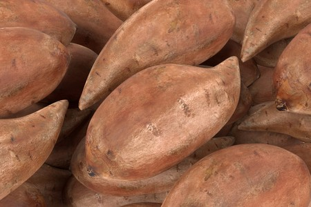 Realistic 3d render of sweet potatoes