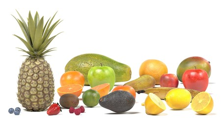 Realistic 3d render of fruit collection