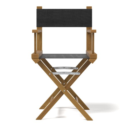 Realistic 3D Render of Director´s Chair Stock Photo
