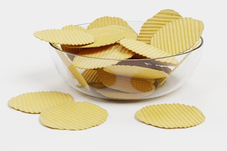 Realistic 3D Render of Potato Chips Stock Photo