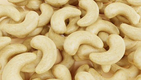 Realistic 3D Render of Cashew Nuts