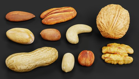 Realistic 3D Render of Nuts Collection Stock Photo