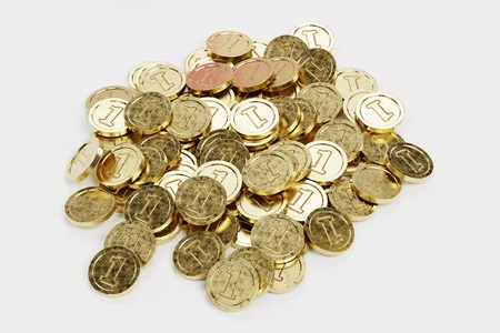 3D Render of Large Pile of Coins