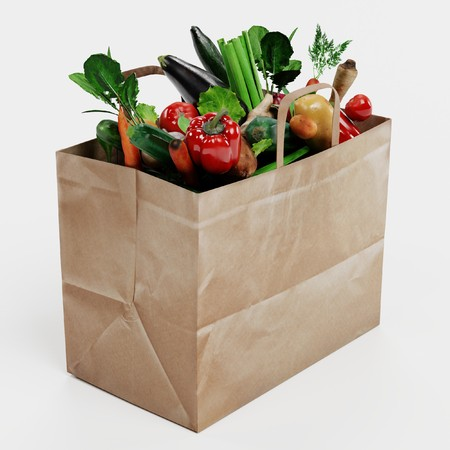 Realistic 3D Render of Paper Bag with Vegetable Banque d'images - 100354914