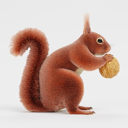 Realistic 3D Render of Squirrel with Nut Foto de archivo