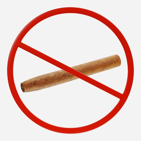 3D Render of Prohibition Sign with Cigar Stock Photo