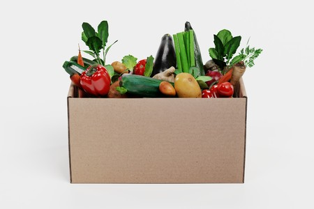 Realistic 3D Render of Paper Box with Vegetable Banque d'images - 100355001