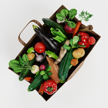 Realistic 3D Render of Paper Bag with Vegetable Banque d'images - 100355294