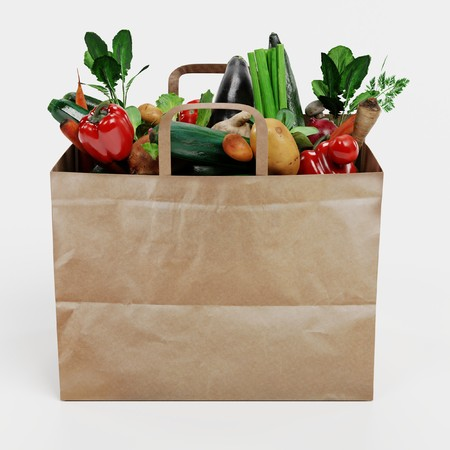 Realistic 3D Render of Paper Bag with Vegetable Banque d'images - 100357883