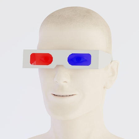 3D Render of Character with 3D Glasses