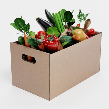 Realistic 3D Render of Paper Box with Vegetable Banque d'images - 100357924