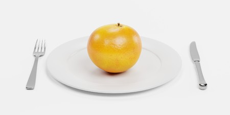 3D Render of Food on Plate Stock Photo