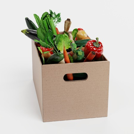 Realistic 3D Render of Paper Box with Vegetable Banque d'images - 100425740