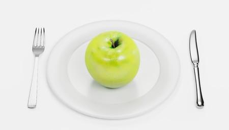 3D Render of Apple on Plate