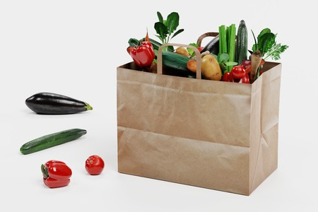 Realistic 3D Render of Paper Bag with Vegetable Banque d'images - 100425749