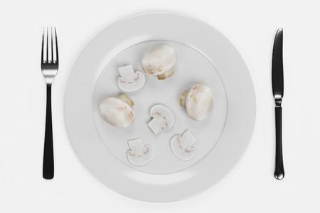 3D Render of Mushrooms on Plate