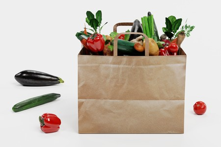 Realistic 3D Render of Paper Bag with Vegetable Banque d'images - 100472641